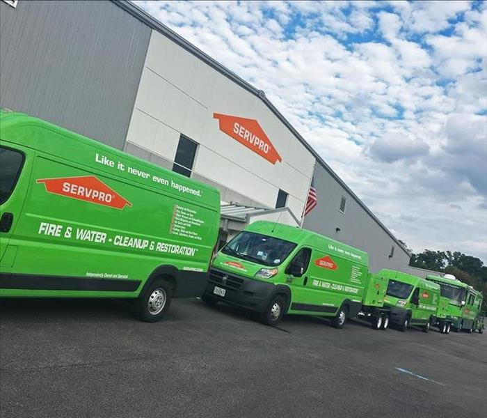 SERVPRO of Chesterfield trucks lined up outside the headquarters