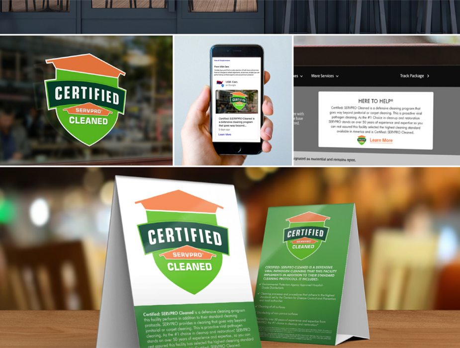 Certified: SERVPRO Cleaned window decals and table top pamphlets